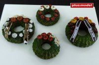 Funeral wreaths with ribbons